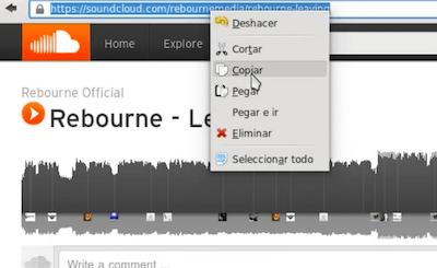 Copiar el enlace de Soundcloud